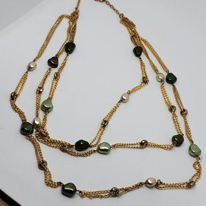 Layered Gold Tone Necklace Green and Pearl Beads